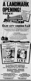 June 26th, 1981 grand opening ad as Olde City Cinema 1 & 2