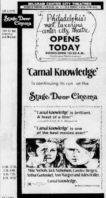 September 1st, 1971 grand opening ad for the Stage door.