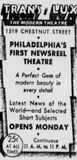 December 31st, 1934 grand opening ad as Trans-Lux