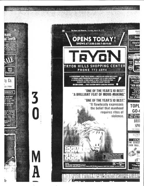 Tryon Hills Theater Grand Opening March 26, 1972