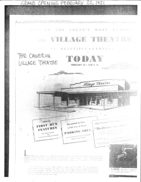 Grand Opening Cameron Village Theater February 22,1951