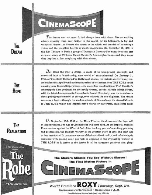 "Roxy Theatre ""The Robe"" CinemaScope engagement ad"