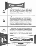 "Roxy Theatre ""The Robe"" CinemaScope engagement ad"