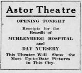 October 21st, 1913 grand opening ad as Astor