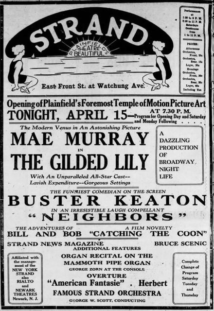 April 15th, 1921 grand opening ad