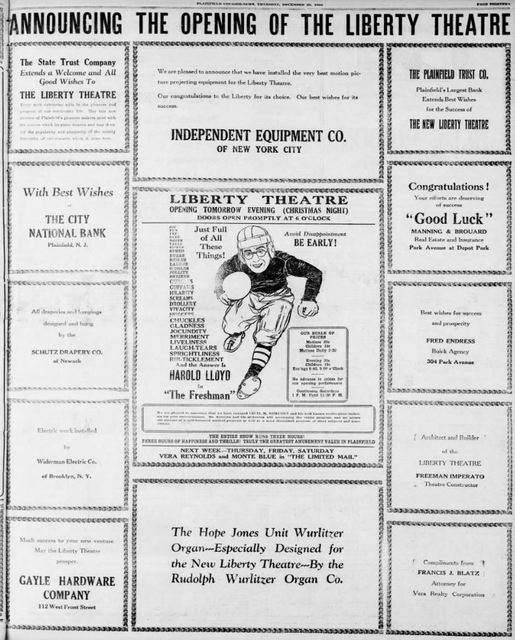 December 24th, 1925 grand opening ad.