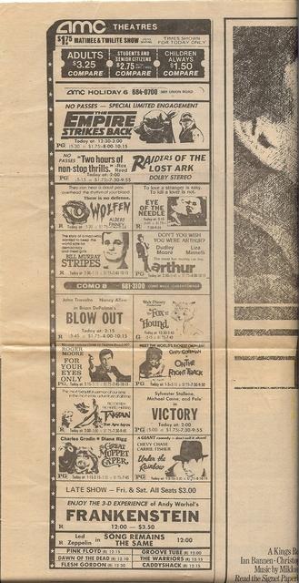 AMC newspaper ad summer 1981