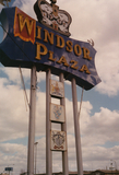 <p>Sign for the Windsor Plaza shopping center where theater was located</p>