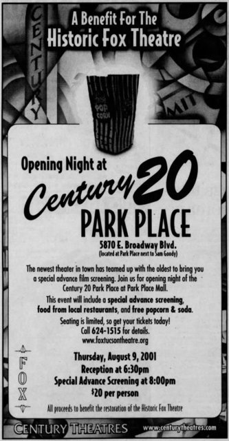 July 20th, 2001 benefit ad for the Fox by Century Park Place