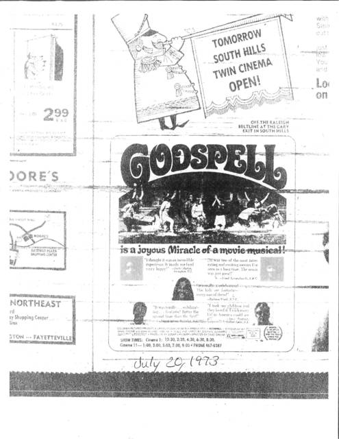 Grand Opening of the South Hills Theatres 1 & 2 July of 1973