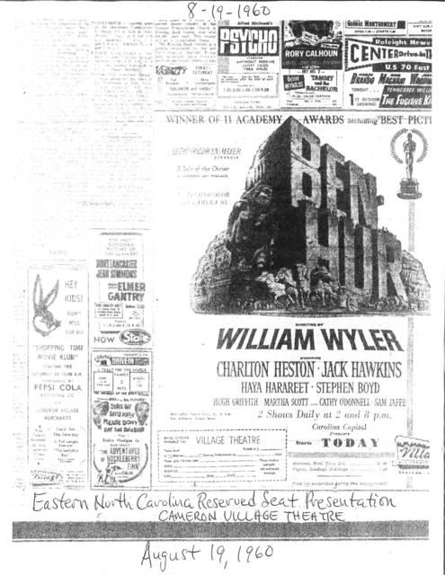William Wyler's BEN HUR Eastern North Carolina Reserved Seat Presentation August 19,1960