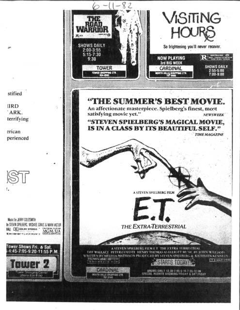 Steven Spielburg's E.T. Raleigh's Cardinal Theatre June 11, 1982