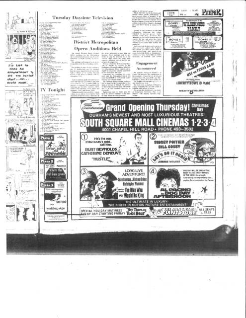 Grand Opening of the South Square Mall Cinemas Christmas Day 1975