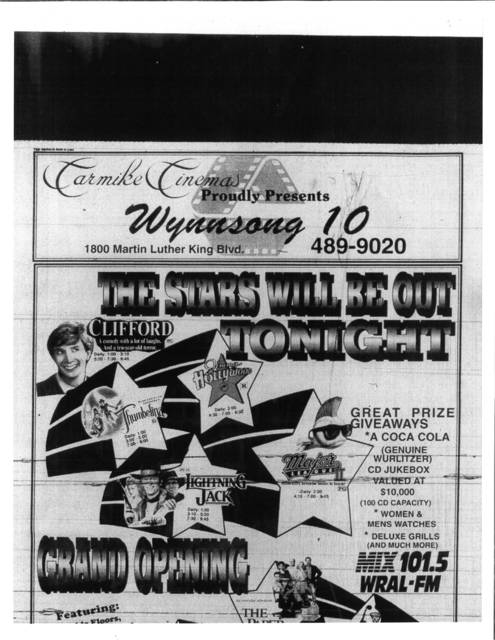 Wynnsong Cinemas Grand Opening Ad on April 1, 1994