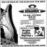 April 1st, 1988 grand opening ad as Broadway Cinema