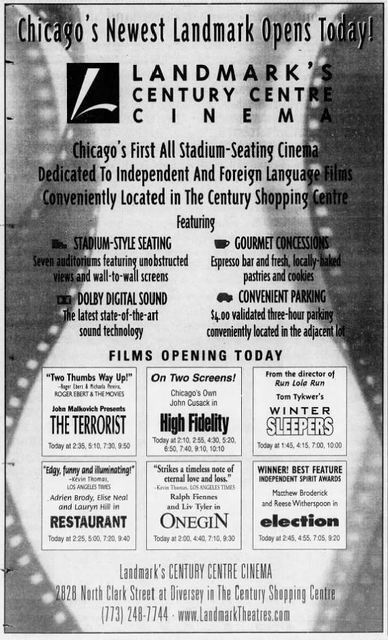 March 31st, 2000 grand opening ad as Century Centre Cinema