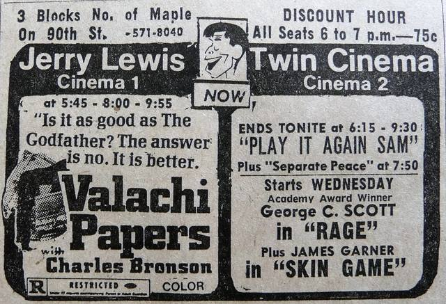 A 1973 newspaper ad for Jerry Lewis Twin Cinema, courtesy of Richard Thies‎.