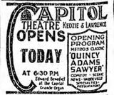 March 7th, 1923 grand opening ad as Capitol