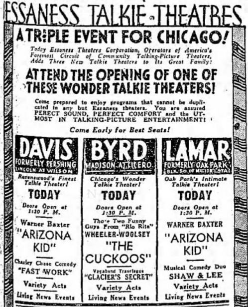 August 29th, 1930 grand opening ad for the Byrd, Davis and Lamar theatres