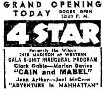 January 11th, 1937 grand opening ad as 4 Star