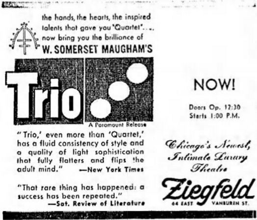 November 24th, 1950 grand opening ad as Ziegfeld