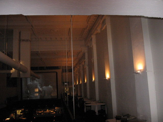 North wall with ceiling.  Film showing is Hitchcock