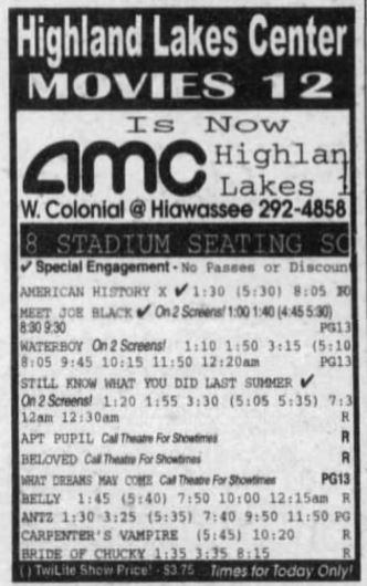 November 20th, 1998 grand opening ad as AMC Highland Lakes