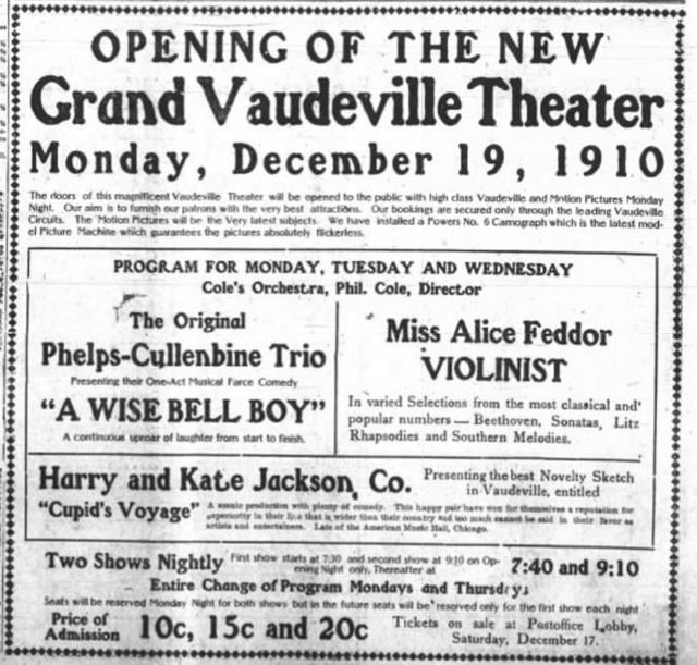 December 17th, 1910 grand opening ad
