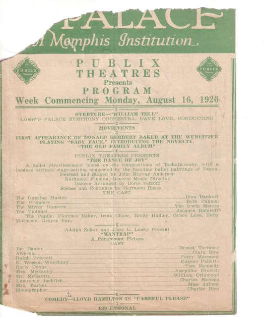 August 1926 Programs from Loew's Palace Memphis