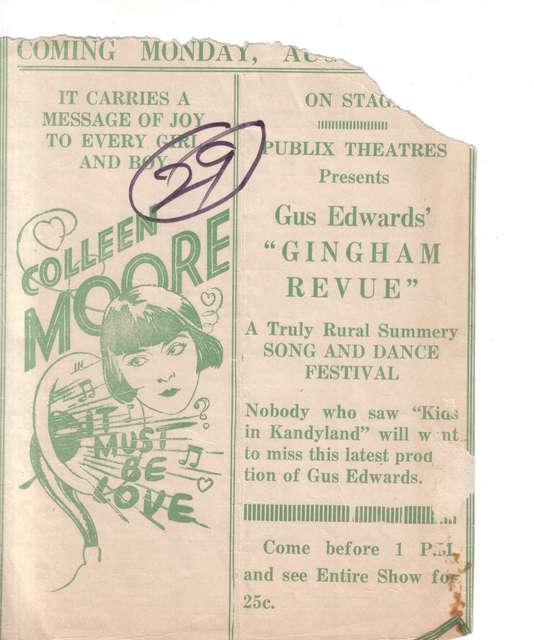 1926 program Memphis Loew's Palace
