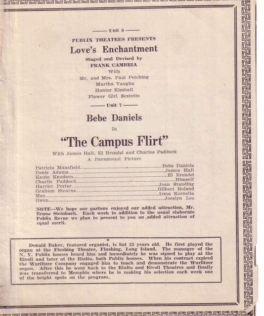 August 1926 Loew's Palace Memphis program