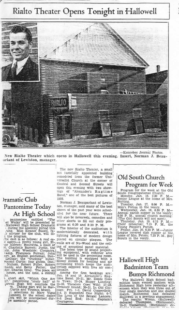 Rialto Theater Hallowell Opening 1938