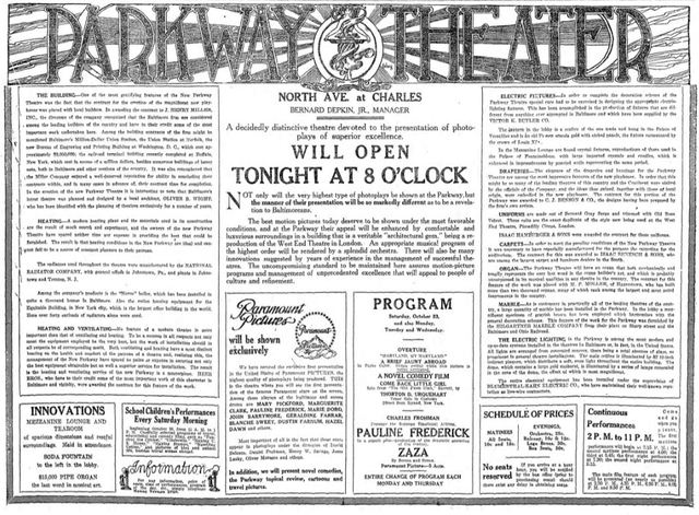 October 23rd, 1915 grand opening ad
