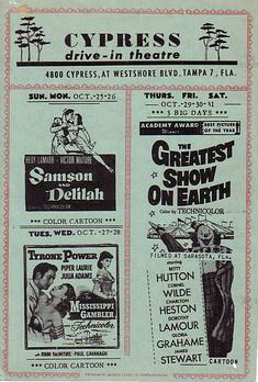 Handbill for Cypress Drive-In Theatre