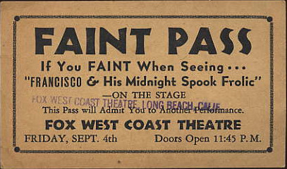 Faint Pass issued by the Fox West Coast Theatre in Long Beach