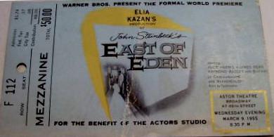 """Astor Theatre """"East of Eden"""" Premiere ticket"""