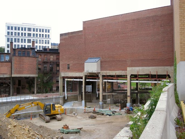 Akron Civic Theatre - Exterior shot of lobby bridging the canal