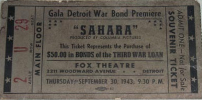 Detroit Fox Theatre War Bond Ticket (1943)