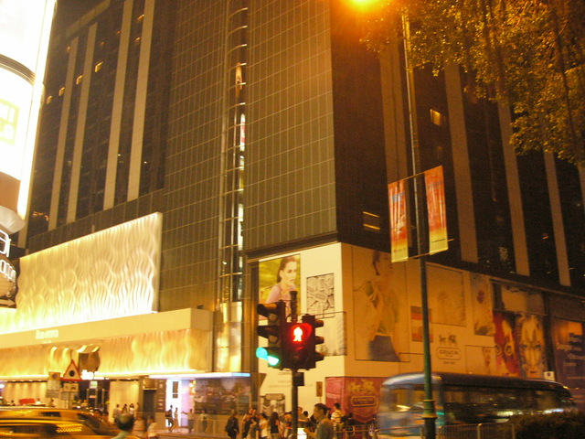 The night scene of the hotel built on the site of the former Princess Theatre