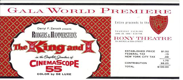 KING & I world premiere ticket ROXY NY 1956