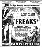 "April 9, 1932 print ad for ""Freaks""."