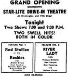 Grand Opening ad as the Star-Lite courtesy of Michael W. Nelson.