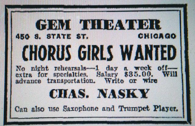 1943 GEM Theatre print ad courtesy of David Floodstrand.