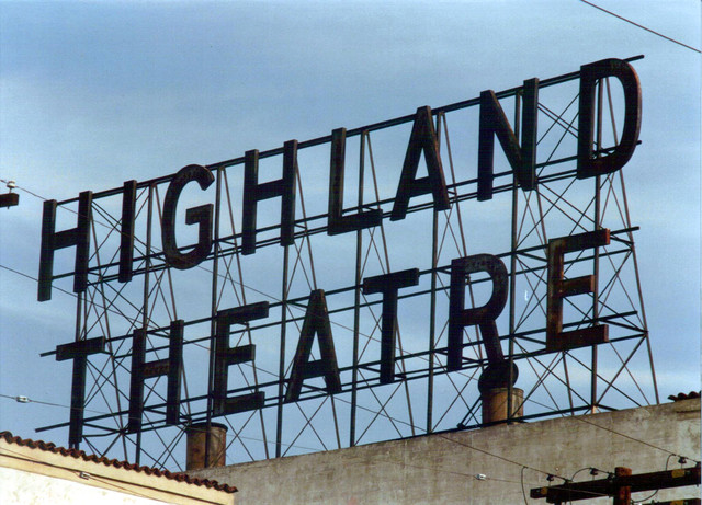 Highland Theatre exterior roof sign