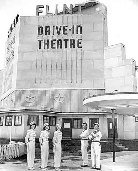 Uniformed staff at the Flint Drive-In