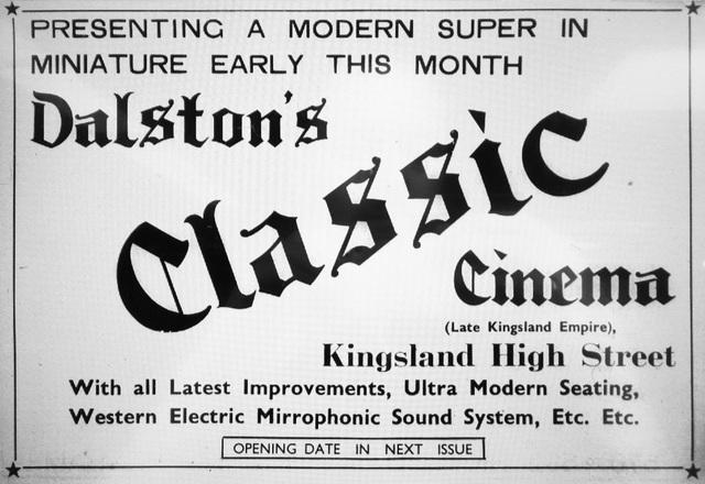 Classic Cinema Dalston opening press ad