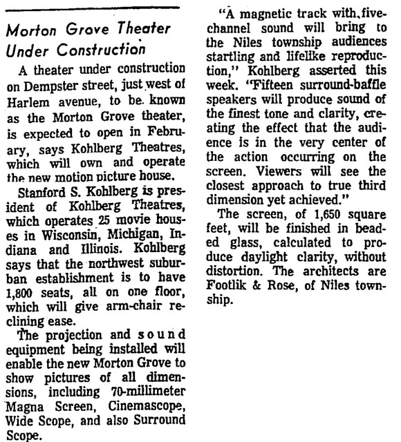 1965 Newspaper Article on Construction of Morton Grove Theatre