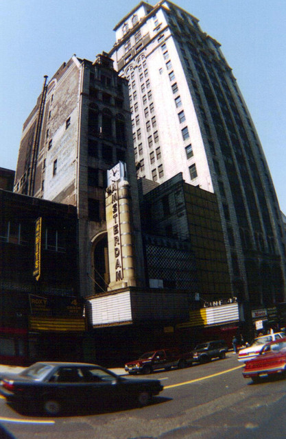 New Amsterdam Theatre exterior with the nearby Cine 42 theatre