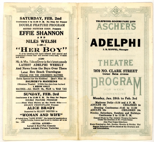 Coming attractions flyer from Jan 28 - Feb 3, 1918.
