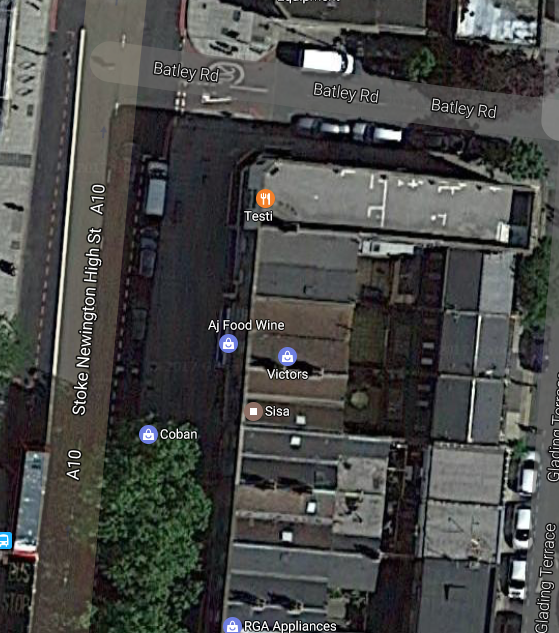 Google arial view showing the new houses built on the auditorium site on the Vogue